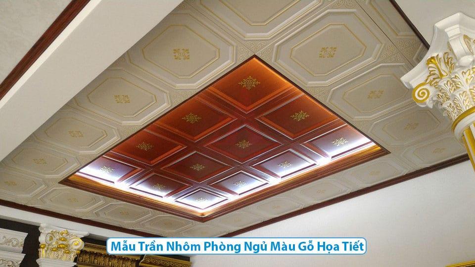 Mẫu trần nhôm phòng ngủ Màu gỗ