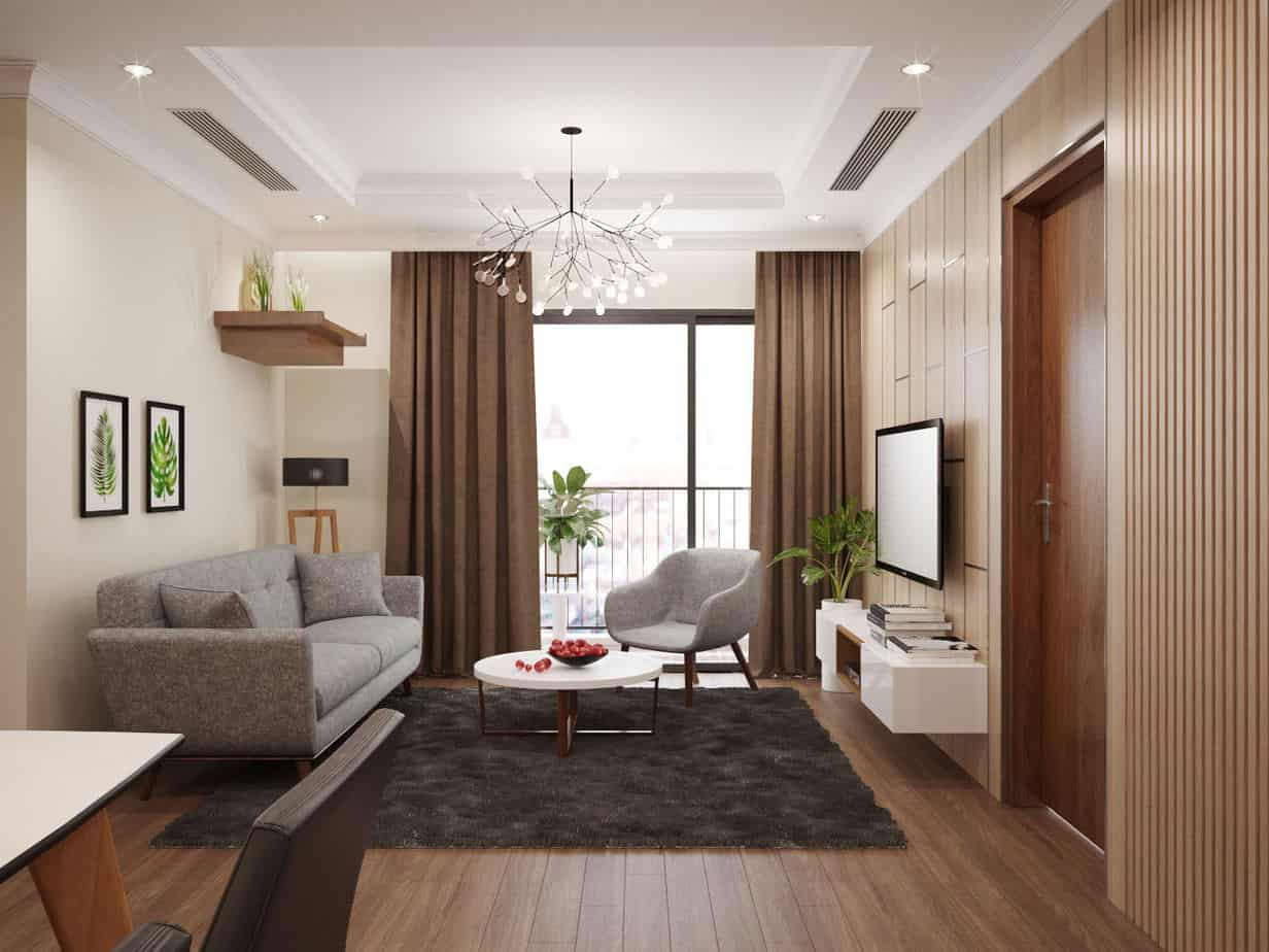 gỗ ốp tường trang trí phòng khách chung cư