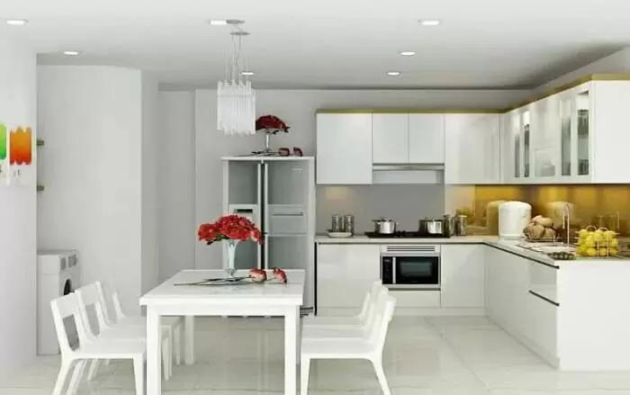 Thạch cao phòng khách kề bếp hiện đại