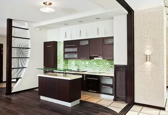 Thạch cao phòng khách liền kề bếp hiện đại