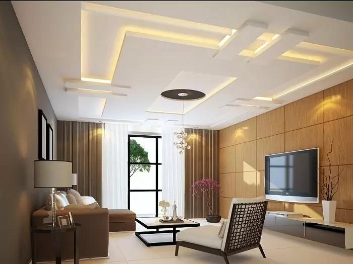 Ấn tượng với trần thạch cao phòng khách hiện đại, đẹp, nhỏ gọn kết hợp với đèn dạ âm trần