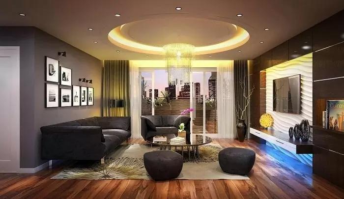 Trần chìm thiết kế theo kiểu dáng hình tròn cùng bộ đèn chùm lộng lẫy tạo điểm đặc biệt cho gian phòng