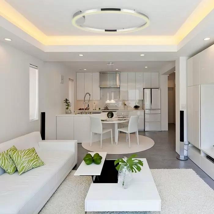 Vẫn là mẫu trần thạch cao giật cấp phòng khách nhưng với màu sắc nhẹ nhàng, trang nhã mở ra không gian thoáng đãng, tối giản