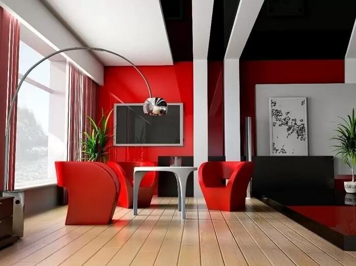 Có thể lựa chọn những màu sắc nổi bật như đỏ, tím, hồng,… cho trần thạch cao phòng khách hiện đại