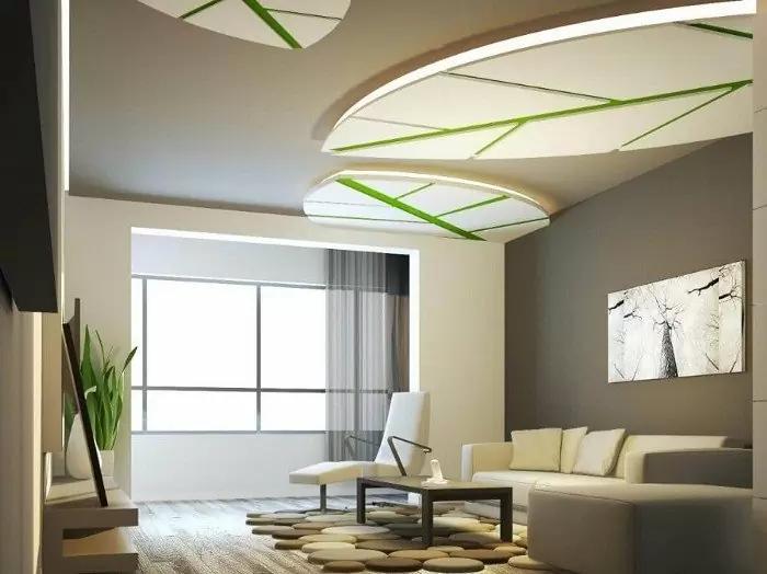 Mẫu trần thạch cao giật cấp phòng khách hình chiếc lá phối hợp với tông màu trắng nhã nhặn, mang đến không gian sang trọng, đơn giản
