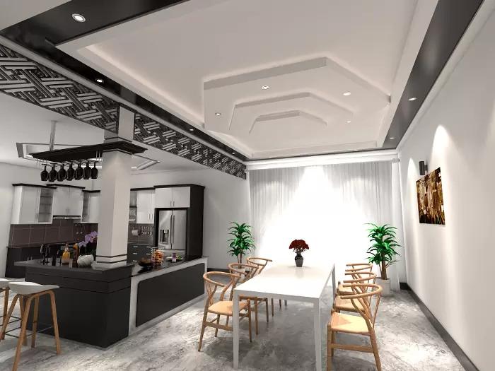 Trần giật cấp kết hợp với đèn led đơn giản, tạo cảm giác ấm cúng, gần gũi cho gian bếp