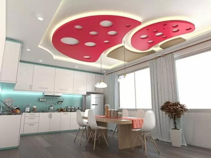 Mẫu trần nhà đẹp và sáng tạo với hình cây nấm đơn giản cho phòng bếp