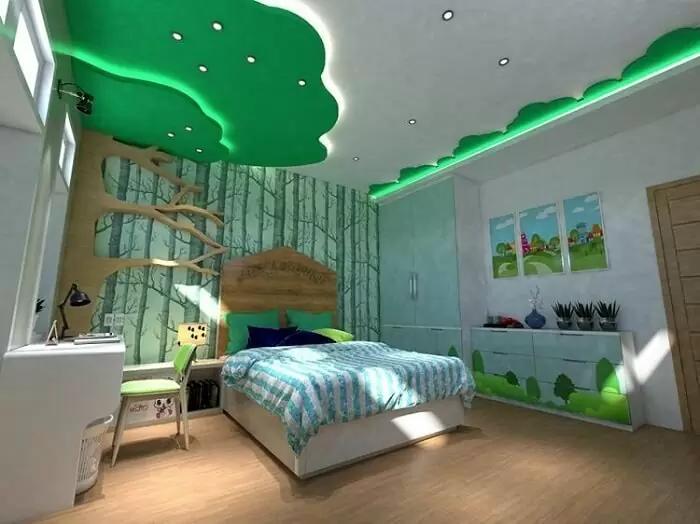 Thiên nhiên tươi đẹp với mẫu trần thạch cao ( la phong )phòng ngủ nhỏ màu xanh mát mẻ